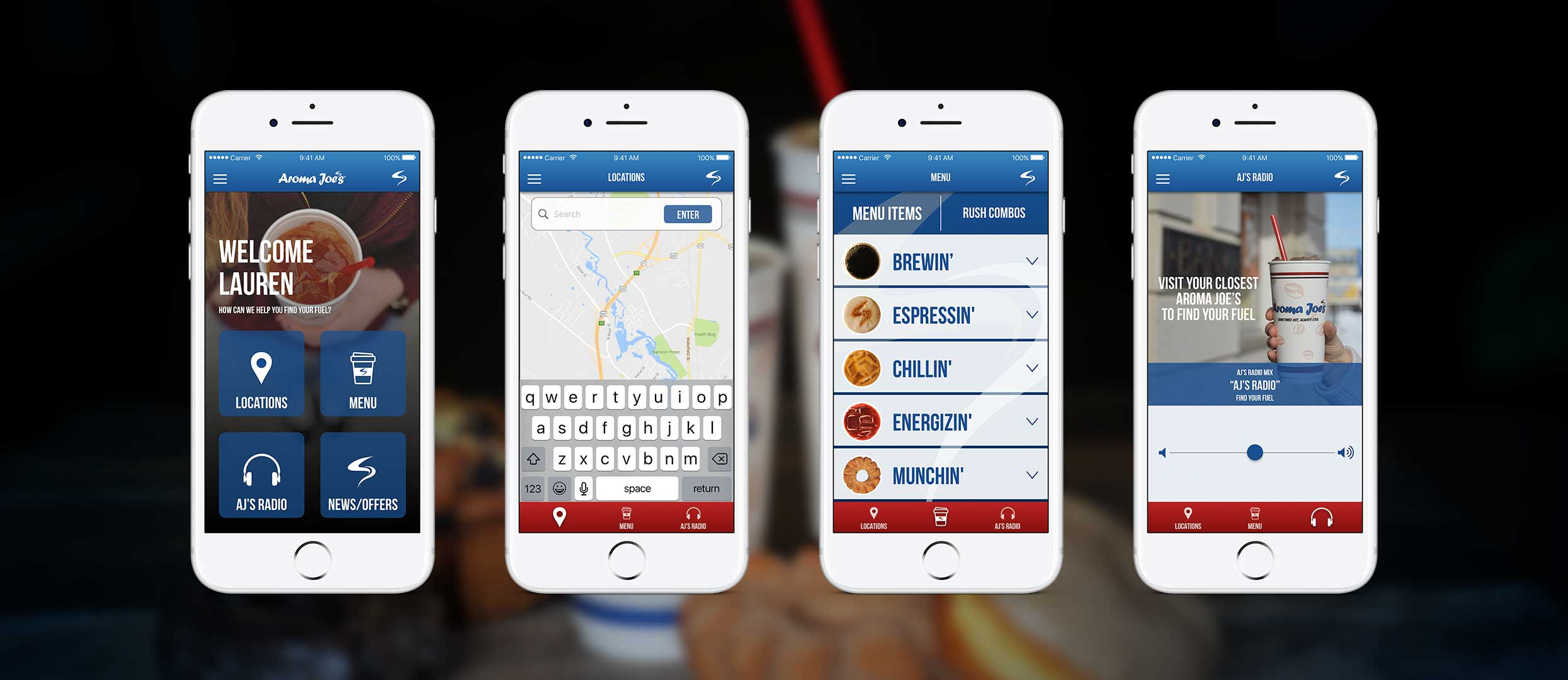 Aroma Joes App Slider